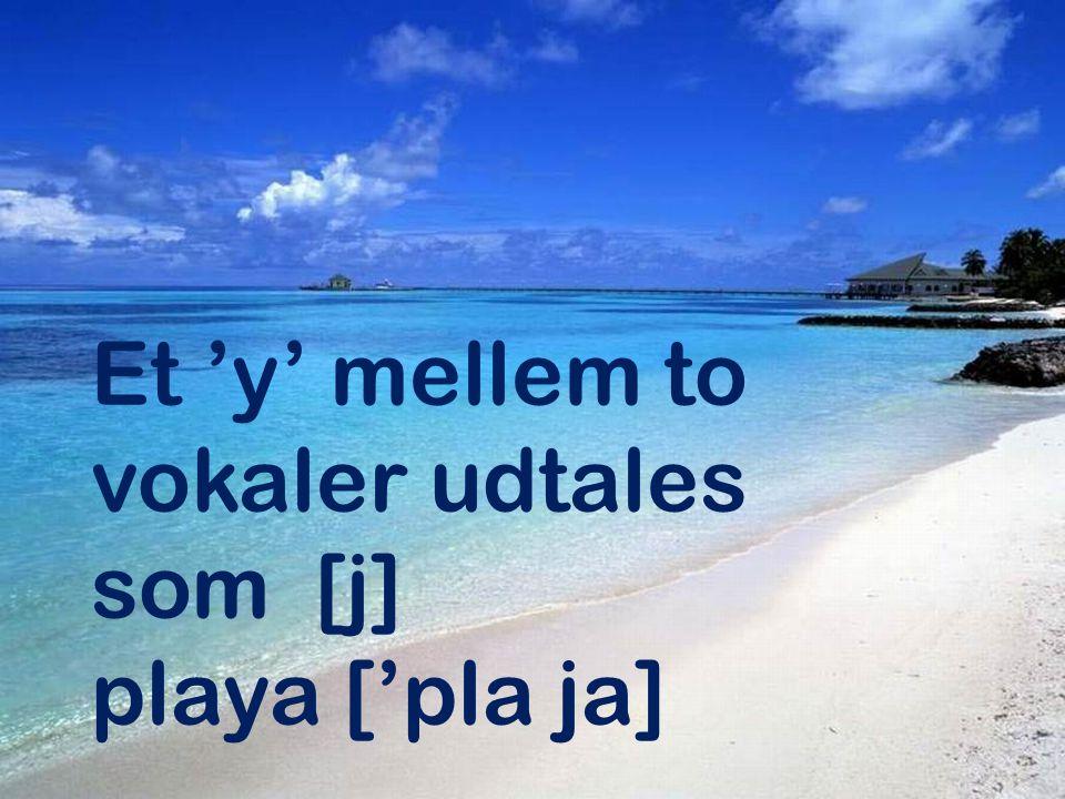 Et 'y' mellem to vokaler udtales som [j] playa ['pla ja]